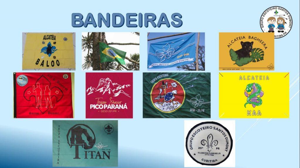 Slide do PowerPoint que possui todas as bandeiras do grupo.