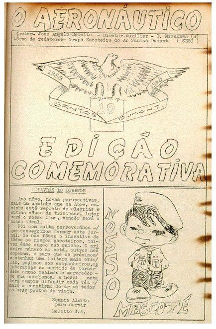 """Edição comemorativa de 10 da revista do grupo (""""O Aeronáutico"""") que possui o lançamento do desenho do Dumonzinho."""